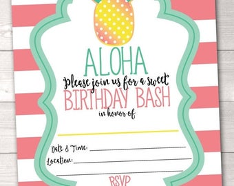 35% OFF SALE Printable Pineapple Birthday Party Invitation Aloha Birthday Bash Instant Download for Girls