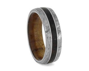 Crushed Dinosaur Bone Wedding Band, Gibeon Meteorite Ring With Titanium Pinstripes, Kauri Wood Band