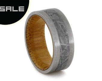 SALE - Bamboo Wood Ring with Gibeon Meteorite and Titanium edges, Eco Friendly Custom Wood Wedding Ring