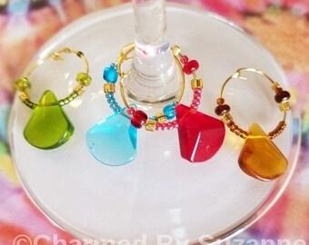 Teardrop Wine Glass Charm Set (of 4), wine charms, drink charms, drink identifiers, glass charms, wine accessories, barware, hostess gift