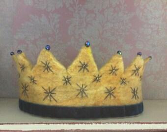 Hand felted Starburst mini Crown - Waldorf Crown - Birthday Crown - Hand Felted Crown - Felt Crown - Kindergarten Crown - Steiner