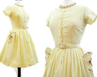Vintage 50s Dress Yellow Cotton Embroidered Pockets Day Full Skirt Shirtwaist Rockabilly S