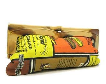 REDUCED Vintage 70s Purse Novelty Print Airplane Flying Advertising Clutch Handbag