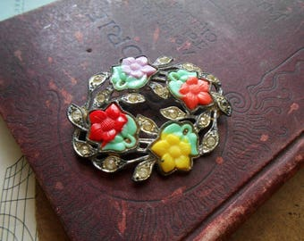 celuloid and rhinestone flower brooch -for repurposing - aniqu vintage costume jewelry