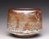 matcha chawan, ceramic bowl, matcha bowl with carbon trap shino and white glazes