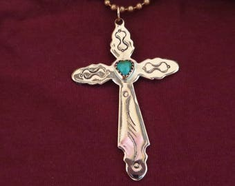 Copper Cross with Turquoise Heart Center