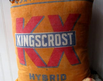 Vintage seed sack pillow Cotton feedsack grainsack Northrup King Kingscrost Seed Corn Yellow red white blue graphics Farmhouse Cottage Chic