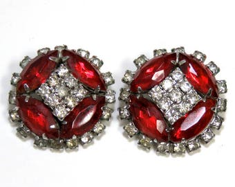 Vintage Sparkling Earrings, Ruby Red and Crystal/ Beautiful Prong-set Rhinestone Clip Ons