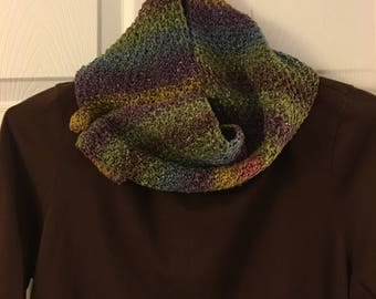 Tunisian Crochet Multi Color Cowl, Neck Warmer, Handmade, Scarves, Accessories