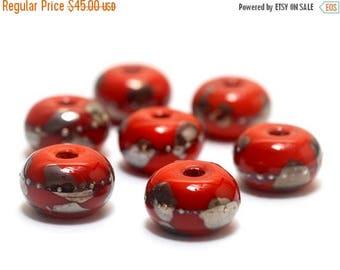 ON SALE 30% off Handmade Glass Lampwork Bead Set - Seven Electric Orange Metallic Rondelle Beads 10705001