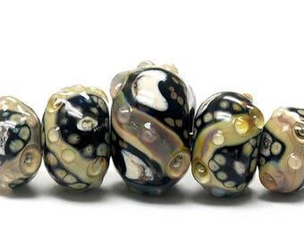 ON SALE 30% off Glass Lampwork Bead Set - Five Graduated Transparent Dark Gray w/Rainbow Rondelle Beads 10902311