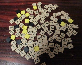 Lot of 100 Plastic Scrabble Tiles from a Scrabble Switch Up Tile Game Includes blanks