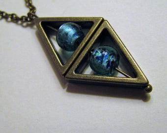 Teal Blue and Antique Bronze Triangle Necklace, Teal Turquoise Silver Foil Lampwork Necklace, Blue Lampwork Bead and Bronze Necklace
