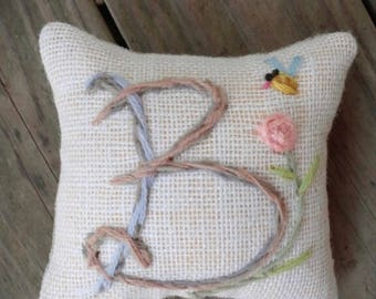 Wedding Gift SIMPLE Style Initial Mini Pillow with One Motif Made to Order YelliKelli