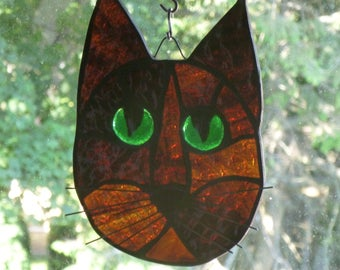 Cat Face Stained Glass Beautiful Brown Gorgeous Green eyes