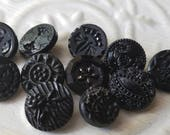 Vintage Buttons - lot of 11 assorted small size  pressed designs  Victorian jet black glass, ( juky 575 17)