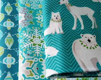 9 Fat Quarters Bundle of Amanda Murphy's SPARKLE and NORDIC HOLIDAY Christmas Fabrics for Comtempo Fabrics ~ 2.25 yards total