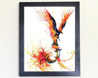Phoenix Spirit Animal Art Print Watercolor 8x10