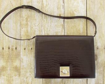 1950's vintage reptile embossed leather purse, handbag