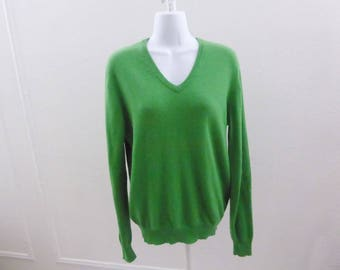 100% Cashmere Sweater Size L Kelly Green Boyfriend V Neck Joe 42 Chest Jumper
