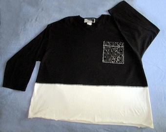 Boutique top black white cotton long sleeve size 3X OOAK