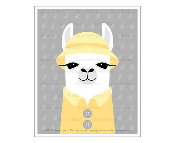 23J Llama Drawing - Llama Wearing Yellow Rain Hat and Raincoat Wall Art - Lllama Print - Yellow and Gray Nursery Decor - Cute Animal Art