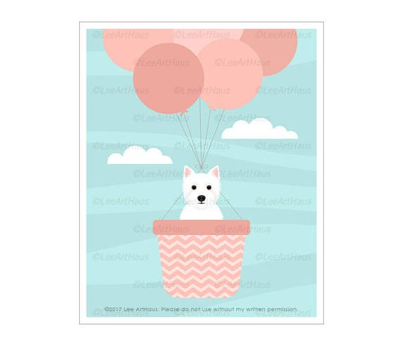 335D Dog Print - Westie in Pink Hot Air Balloon Wall Art - Pink Balloons Print - Girl Nursery Decor -  West Highland White Terrier Print