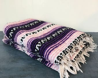 vintage serape blanket - Mexican textile bedspread throw - woven wall hanging - pink purple black