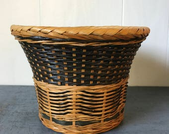 woven bamboo basket - black beige plant basket - medium round wicker planter