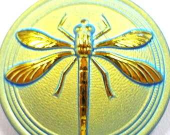 """XL Czech glass BUTTON, Golden Aqua with DRAGONFLY, 1 3/16"""", 31mm."""