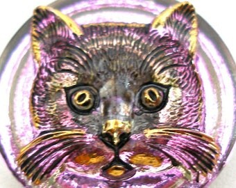 3D CAT face, Czech glass BUTTON, Kitty in Pink, purple & gold, 1 inch, 27mm.