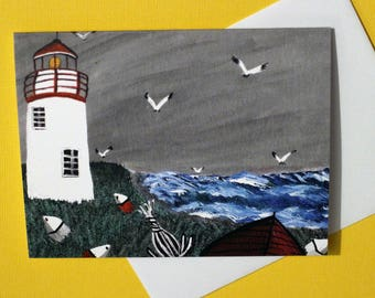 Acadian painting note cards - Traditional acadian art 4.25 x 5.5 size. Blank inside ; Acadie, french Acadien lighthouse scene,maritime