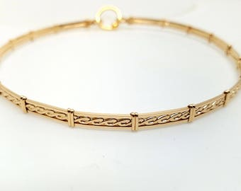 14 5/8ths inch Ultra Discreet Rope Motif Slave Collar-14kt yellow Gold Filled-Ready To Ship Now-Clasp Tool Sold Separately