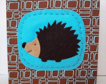 Hedgehog Art Block in Brown and Teal