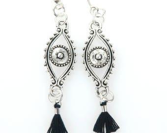 Silver drop earrings, tassel earrings, boho earrings, statement earrings, eye earrings, black tassel, evil eye jewelry, dangle earrings