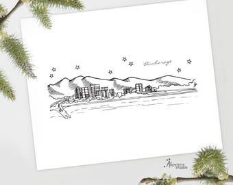 Anchorage, Alaska - United States - Instant Download Printable Art - City Skyline Series
