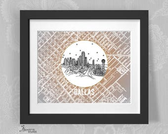 Dallas, Texas - United States - Instant Download Printable Art - Vintage City Skyline Map Series