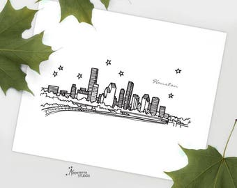 Houston, Texas - United States - Instant Download Printable Art - City Skyline Series