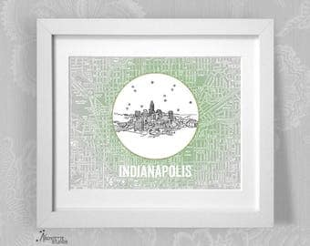 Indianapolis, Indiana - Instant Download Printable Art - Vintage City Skyline Map Series