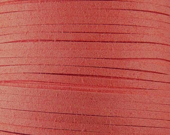 Faux Suede Cord By the Yard Salmon Pink 3mm thick (1013cor03m1-2)