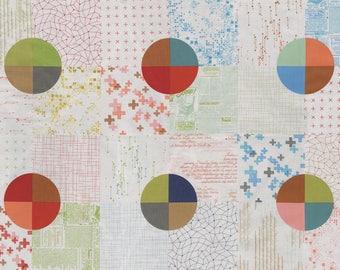 "MODA Modern BG Background Colorbox Geometric Cheater Panel Multi Fog 1640 12 - 23"" panel  Yardage by Brigitte Heitland of Zen Chic"