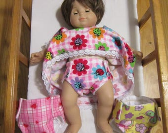 15 inch Doll Diapers fits the American Girl Bitty Baby Dolls and Cabbage Patch Kids
