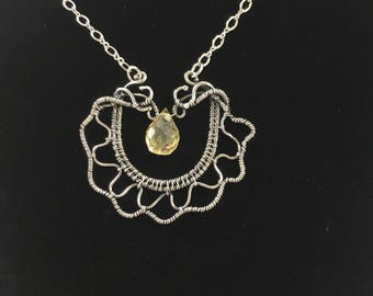 Fine silver pendant with Citrine