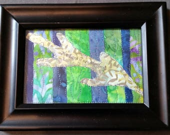 Green Blue Leaf Small Framed Quilted Art | The Lord Is My Shepherd - Psalm 23:1