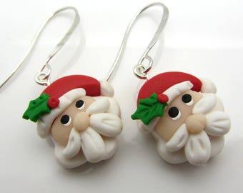 Christmas Santa Claus Earrings Polymer Clay Earrings Holiday Earrings Dangle Drop Earrings Beaded Earrings SRAJD