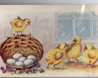 Vintage postcard - Easter Greetings, Chicks Vintage Postcard  Chicks playing, basket