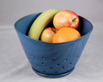 Berry Bowl XTRA Large with Saucer Kitchen Colander in Teal Blue