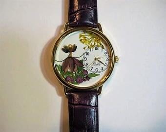 IMAGINE...A Flower Fairy Dancing in Her Garden in your Watch! Fairy in a Watch, Garden Fairy Watch, Purple Fairy,