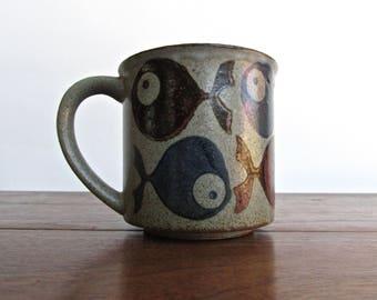 John Clappison Fish Mug, Gorgeous Rare Red-Clay w/ Milky Glaze over Tenmoku and Grey-Blue Fishies