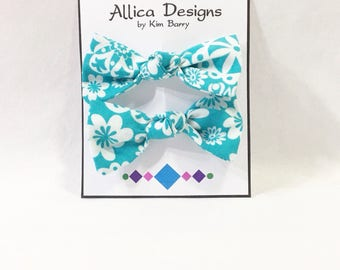 Hair Bow Clip Set - White Flowers on Blue  -  Free Shipping in the US